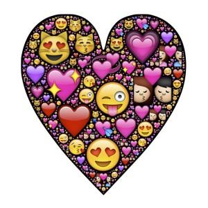 Hart gevuld met emoticons